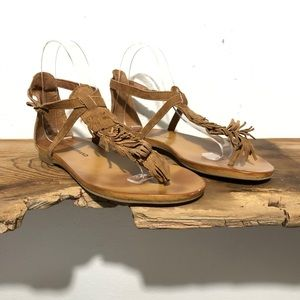 Lucky Brand   'Wekka' Fringed Flat Sandals Size 6